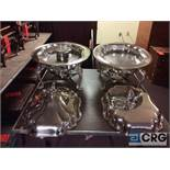 Lot of (2) 4.5 Qt assorted oval silver plated chafing dishes