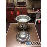 Lot of (2) 8 Qt round silver plated chafing dishes, 12 in. diameter