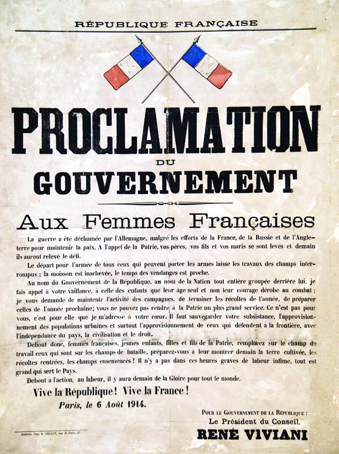 aux femmes fran aises proclamation du gouvernement 1914 a gallot auxerre 1 affiche non entoil e. Black Bedroom Furniture Sets. Home Design Ideas