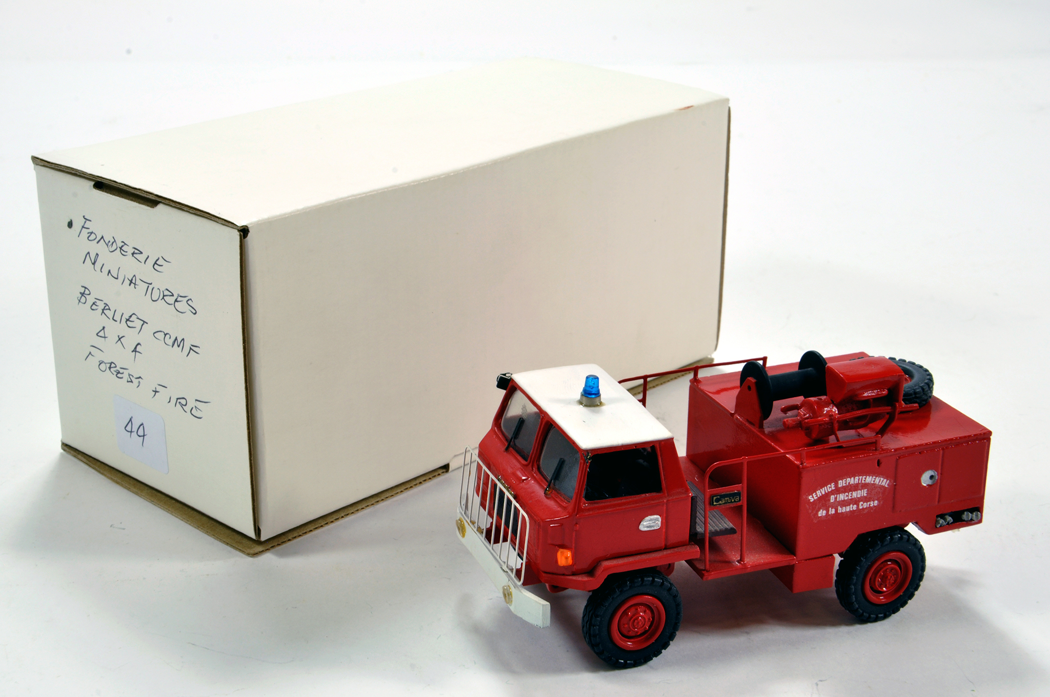 Lot 1092 - Fonderie Miniatures 1/50 Resin White Metal Berliet CCMF 4X4 Forest Fire Truck. Superb model.