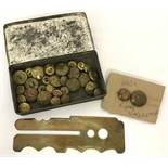 A collection of assorted misc. buttons to include Royal Warwickshire Regt.