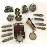 A collection of assorted medals, bars and badges.