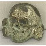 """WW2 Style Waffen SS Skull & Crossbones cap badge, marked to reverse """"RZM 1/52""""."""