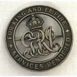"""WWI British silver """"For King & Empire Services Rendered"""" wound pin back badge."""