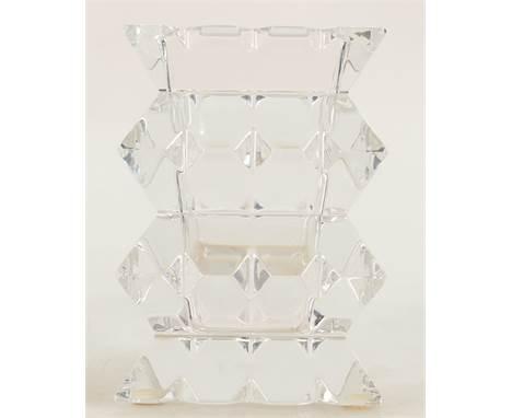 Baccarat vintage crystal square vase: Etched mark to base and label, height 11cm.