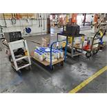 (4) CARTS WITH MILLER COOLMATE 3 CHILLER, PLASMA POWDER, POWDER FEED CONTAINER, LAPMASTER 0006,