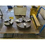 (3) CARTS WITH 21'' 4-JAW CHUCK, 12'' 4-JAW CHUCK, LIVE CENTER, TOOL HOLDER, COLLETS CHUCK RING,