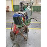 OXY/ACETYLENE TORCH CART WITH TWIN LINE HOSE, GAUGES, CUTTING HEAD ( NO BOTTLE)