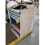 7-DRAWER MODULAR TOOL CABINET WITH 35-TOOL HOLDERS WITH TOOLING, COLLETS, END MILLS SHIMS, ATS