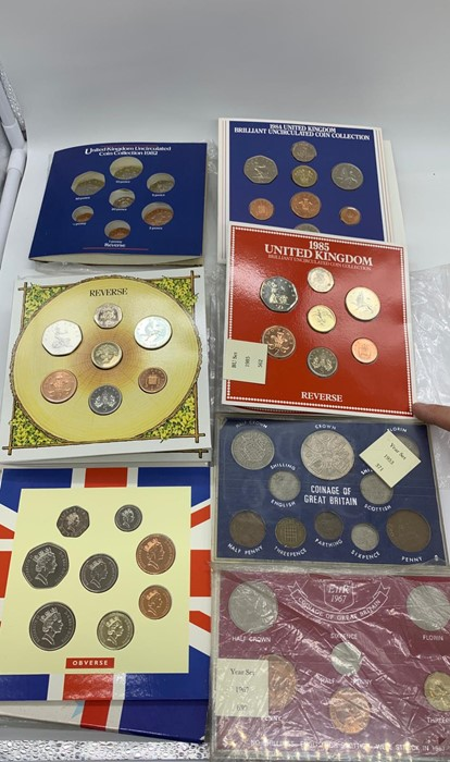 Lot 26 - Seven Coin collectors packs: Coinage of Great Britain 1967, Coinage of Great Britain 1953, United