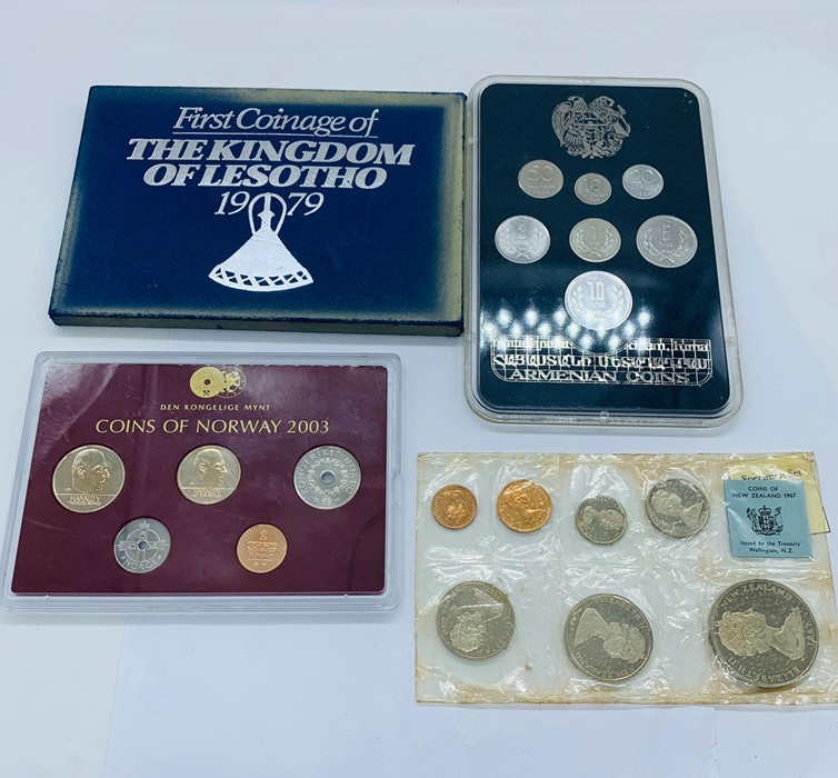 Lot 44 - Four collectors coin packs 1994 Armenian coin set, 1967 coins of New Zealand, Coins of Norway 2003