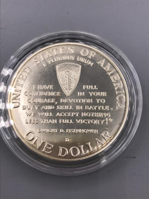 Lot 52 - A United States of America 1 Dollar silver proof coin commemorating D Day 1991-1995