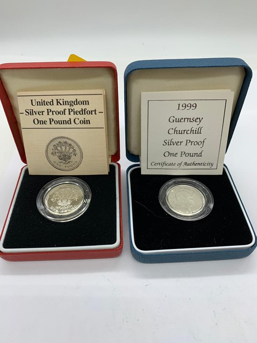 Lot 33 - Two Silver proof One pound coins