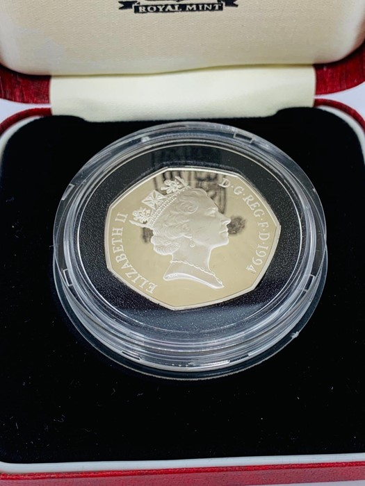 Lot 9 - A 1994 50 pence silver proof D-Day Commemorative coin