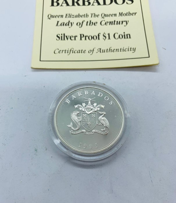 Lot 36 - A 1995 Barbados lady of the Century Silver Proof $1 coin
