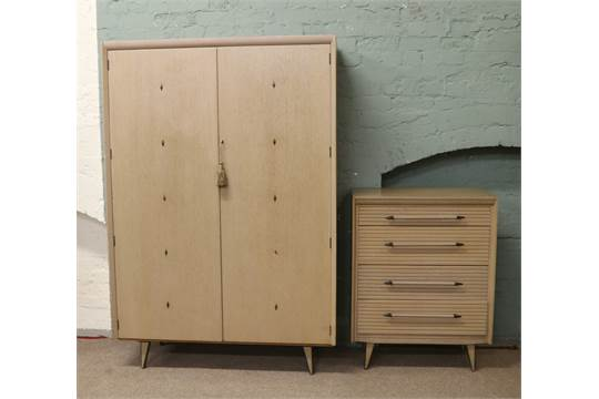 A Lebus Link Furniture Three Part Bedroom Suite 1950s Atomic Style With  Limed Oak Effect.