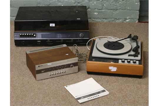 An Hitachi music centre along with a Heathkit turntable model number