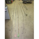 """Lot (Qty 6) Chains, Consisting of (2) 20' 38"""" with hooks, (1) 24' 3/8"""" without hooks, (1) 17' 7/16"""""""