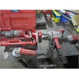 """Milwaukee Lot (Qty 4) Drill, Saw & Grinder. Consisting of (1) Reciprocating saw, (1) 4"""" Grinder, (2)"""