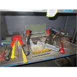 Lot of Assorted Tools. Contents of Shelf, Pry Bars, Alligator Tool, Drill Bits, Tap Dies, Cable