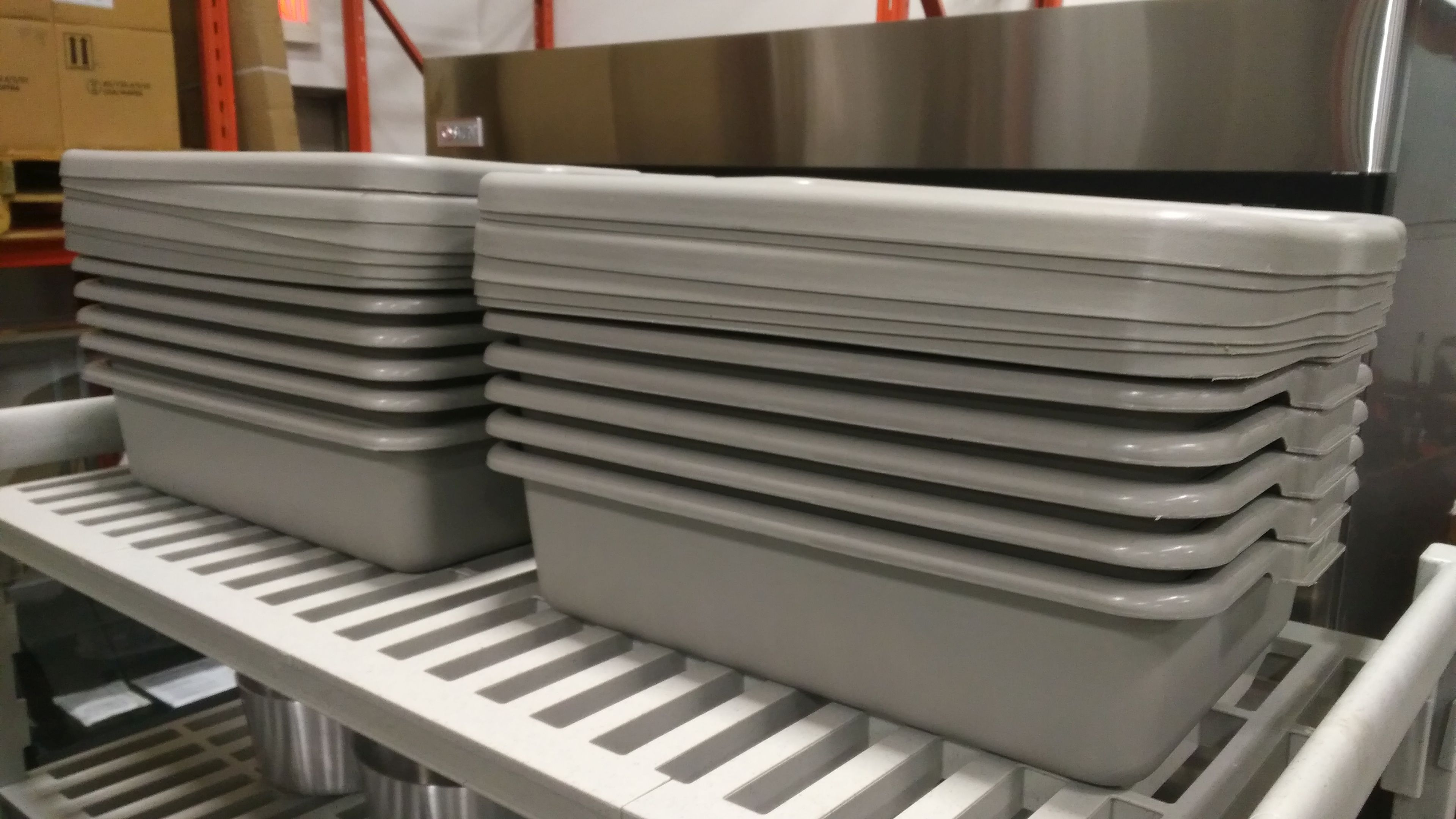 """Lot 4 - Grey 5"""" Deep Tote Bins with Lids - Lot of 12"""
