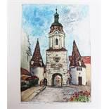 Hildegard Kasimir Fundulus (1928 born), Steinertor in Krems, Colour etching on paper.49 x 36