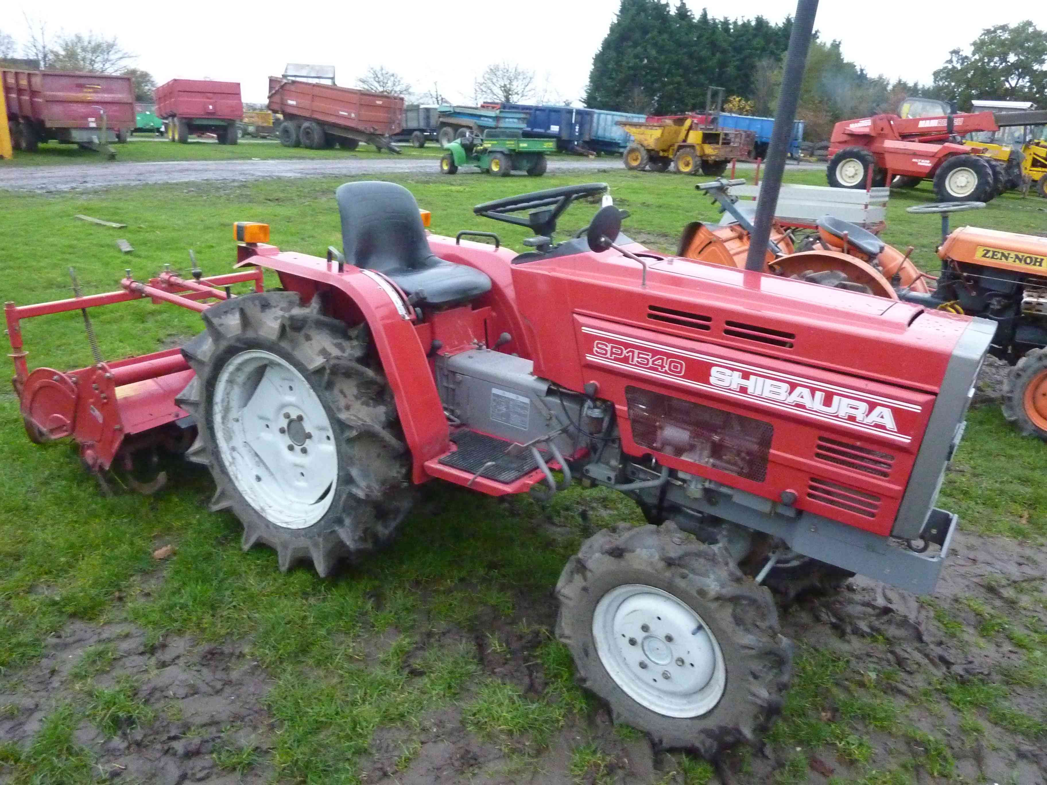 Lot 4785 - 4785 Shibaura SP1540 4wd compact tractor with rotavator, gwo