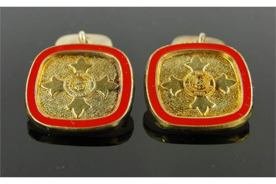 Pair of Toye Kenning & Spencer silver gilt and enamel cufflinks, boxed