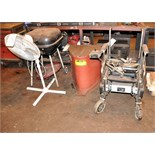 Lot-Pedestal Fan, Grill, Rag Can and Wheel Chair