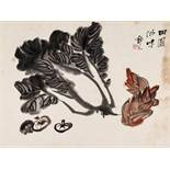 A 'PAK CHOI, SHITAKE AND BAMBOO SHOOT' PAINTING BY JING ZHI, 20th CENTURY Ink and color on paper,