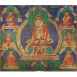 A VERY LARGE TIBETAN THANGKA WITH SITATARA, 19th CENTURY Distemper and gold paint on cloth Tibet,