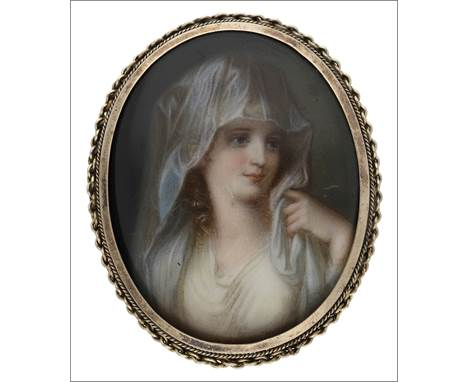 A Victorian oval enamelled brooch, set with an enamelled representation of the Portrait of a Lady as a Vestal Virgin after An