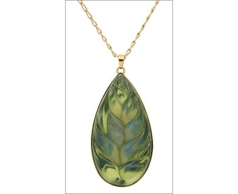 A glass pendant by Lalique, the carved tear-shaped pendant gilt metal mounted, and suspended from a fine link chain, the reve
