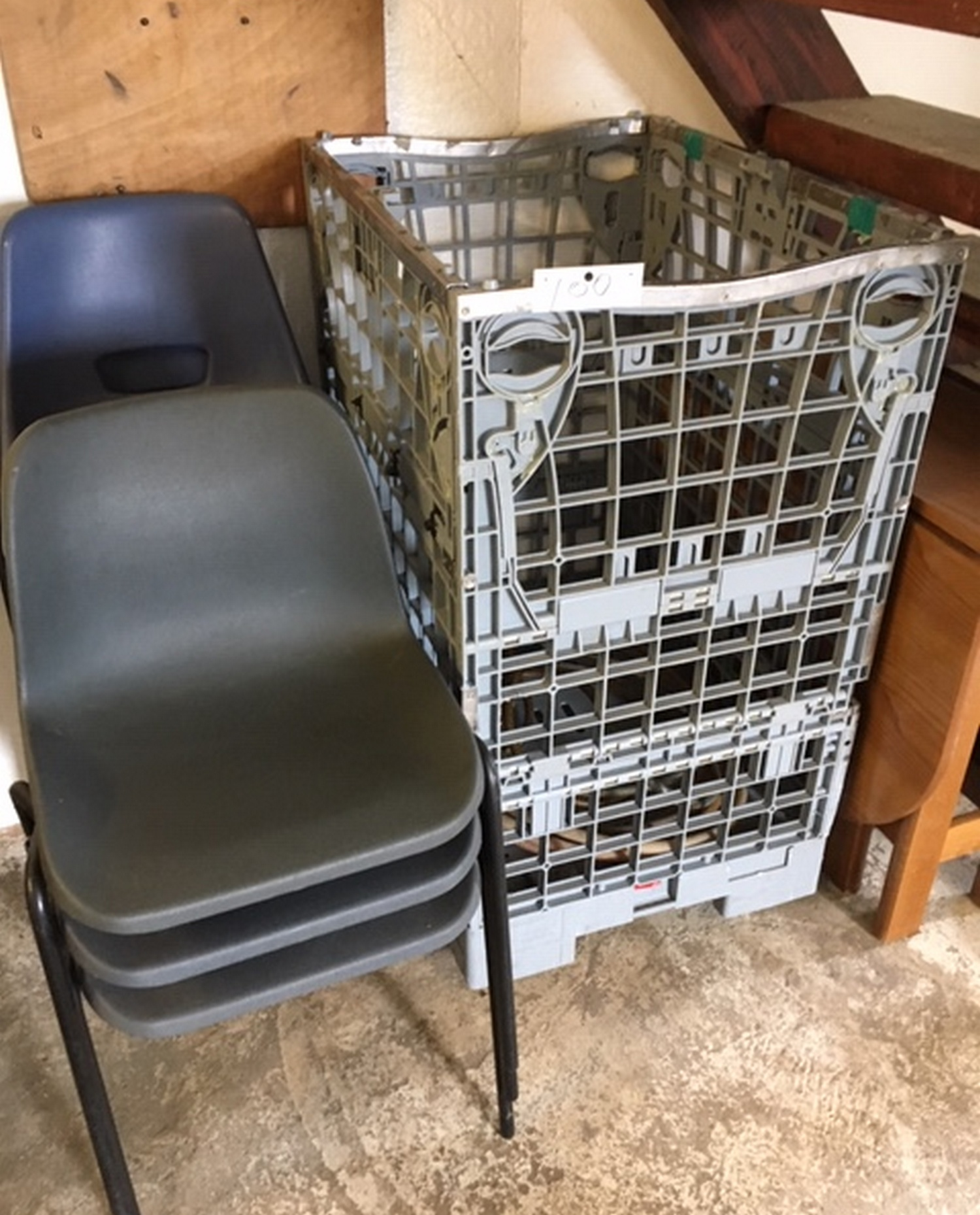 Lot 100 - Wheeled Trolley and Stacking Chairs.