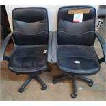 2 x Adjustable Faux Leather Office Chairs in Black