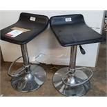 2 x Adjustable Faux Leather Bar Stools