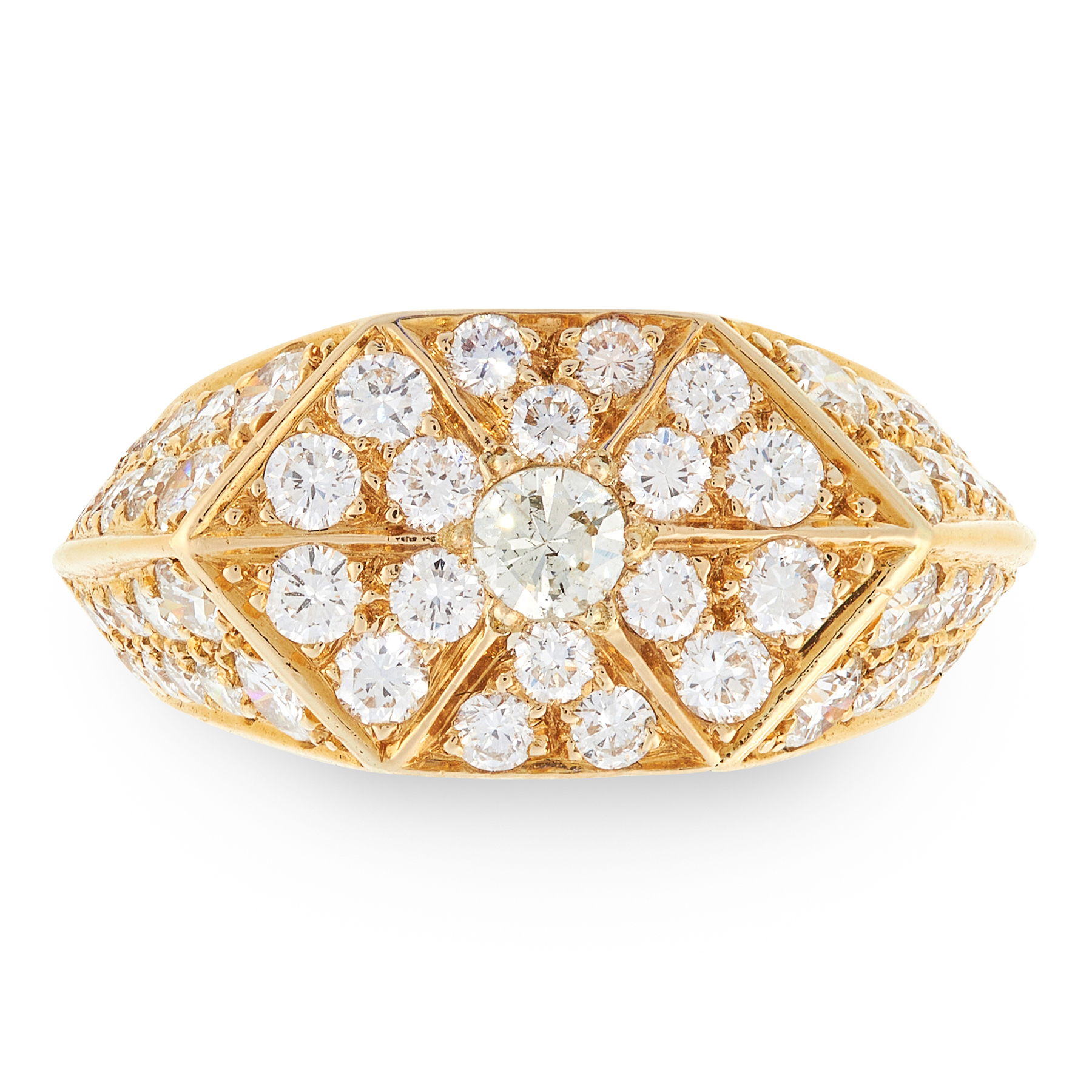 A VINTAGE DIAMOND DRESS RING in 18ct yellow gold, the hexagonal face jewelled allover with round cut