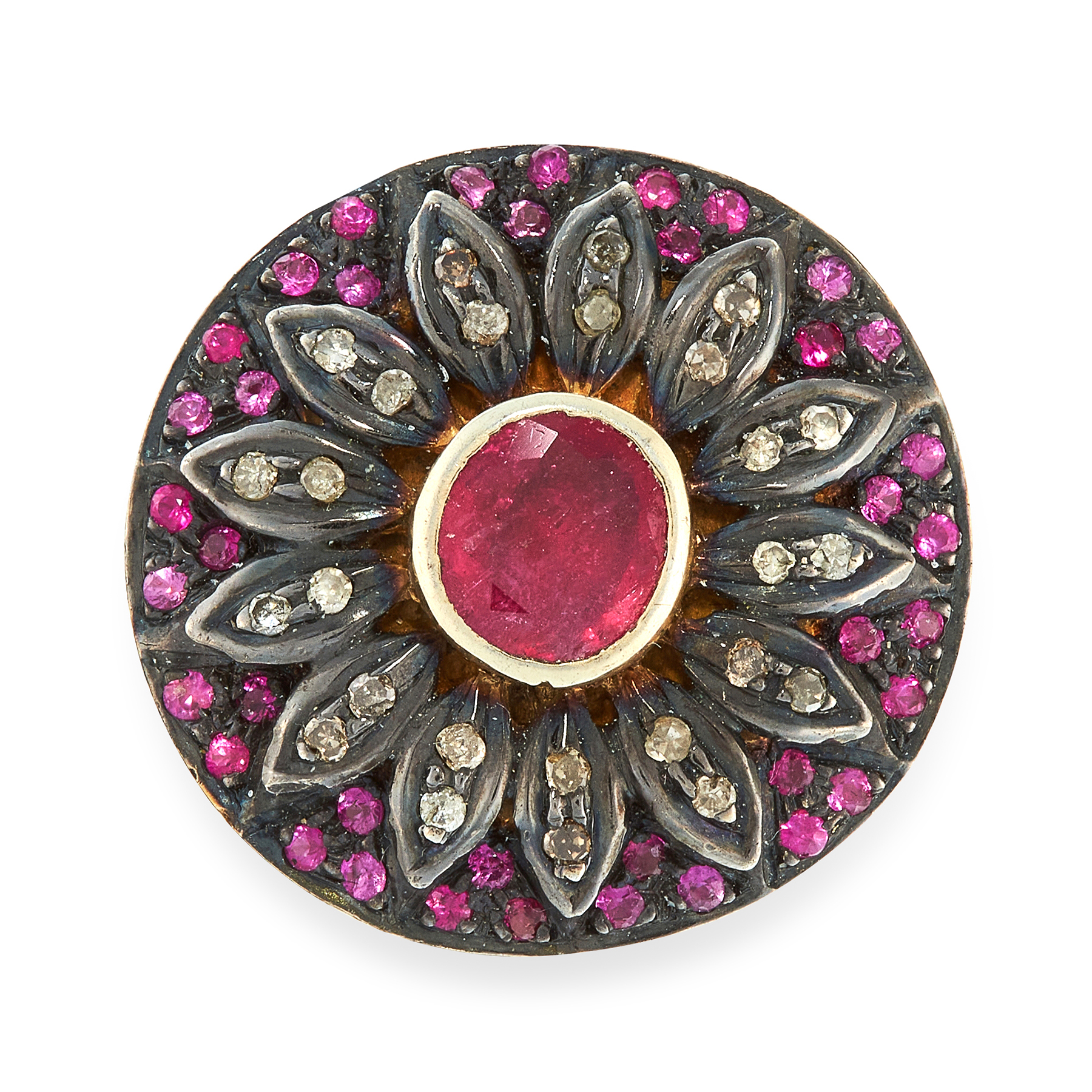 A RUBY AND DIAMOND JEWEL the circular body designed as a flower, set with rubies and diamonds,