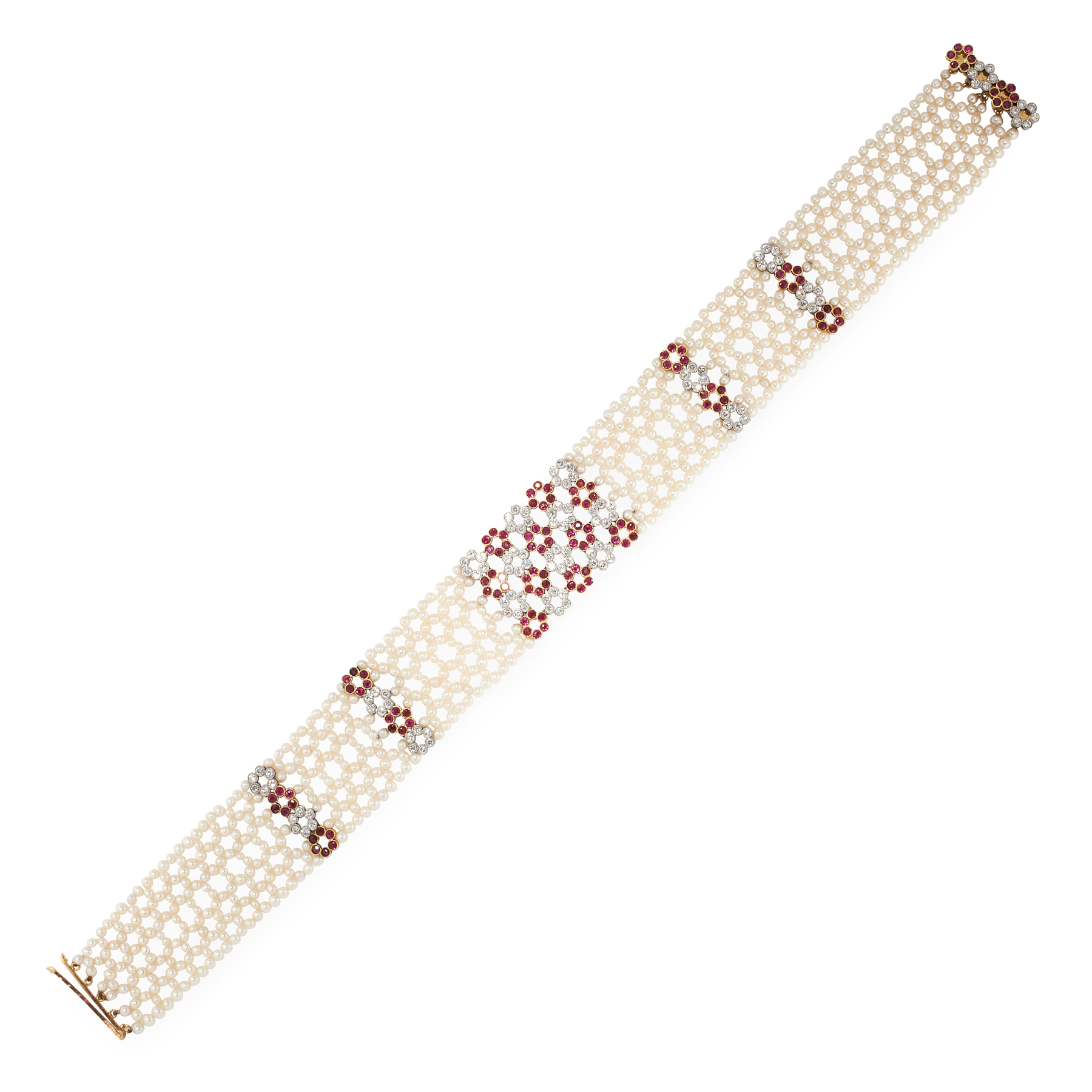 A PEARL, RUBY AND DIAMOND CHOKER NECKLACE in 18ct yellow gold and platinum, comprising six rows of