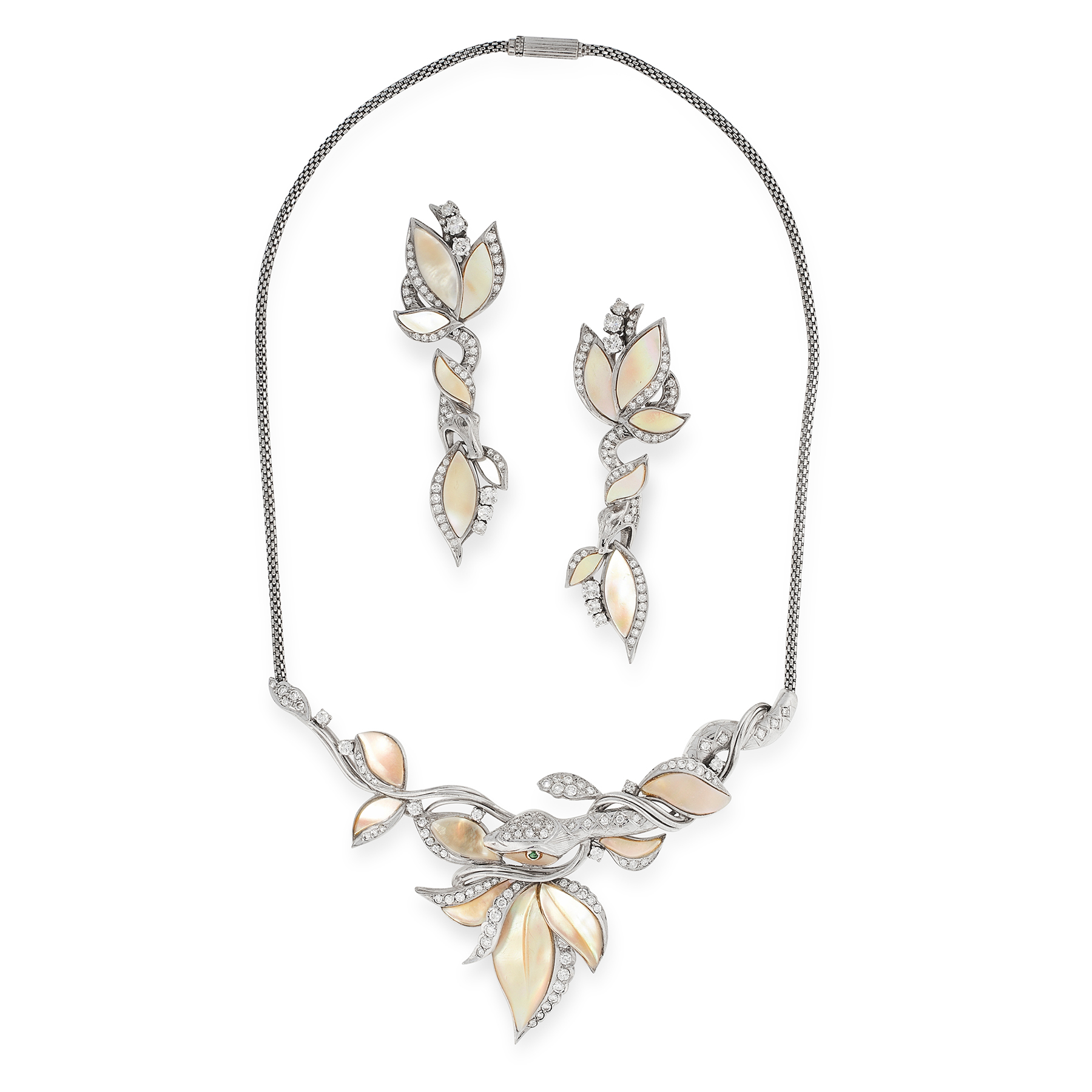 A MOTHER OF PEARL AND DIAMOND SNAKE NECKLACE AND EARRINGS SUITE in 18ct white gold, each designed to