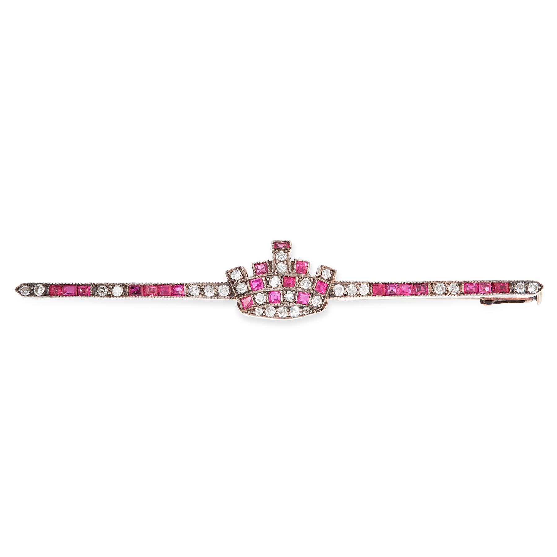 AN ANTIQUE RUBY AND DIAMOND BROOCH in yellow gold, the plain bar set with alternating rows of step