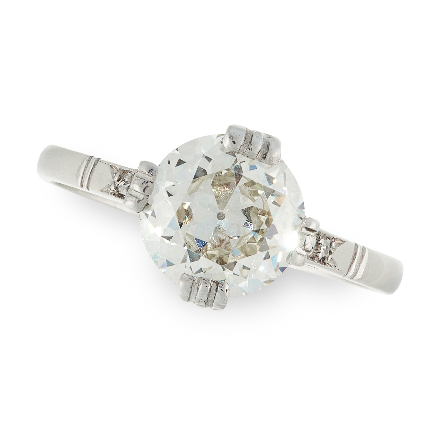 A DIAMOND SOLITAIRE RING set with an old European cut diamond of 1.24 carats, with pairs of single