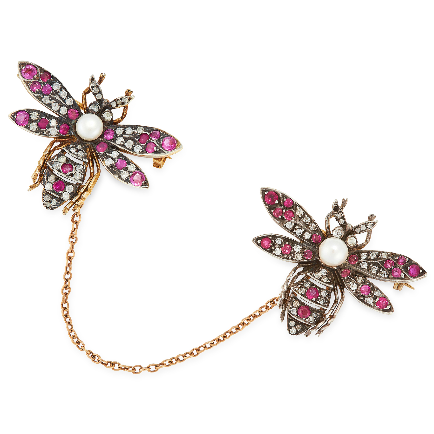 A PAIR OF RUBY, DIAMOND AND PEARL BEE BROOCHES designed as bees, set with round cut rubies and