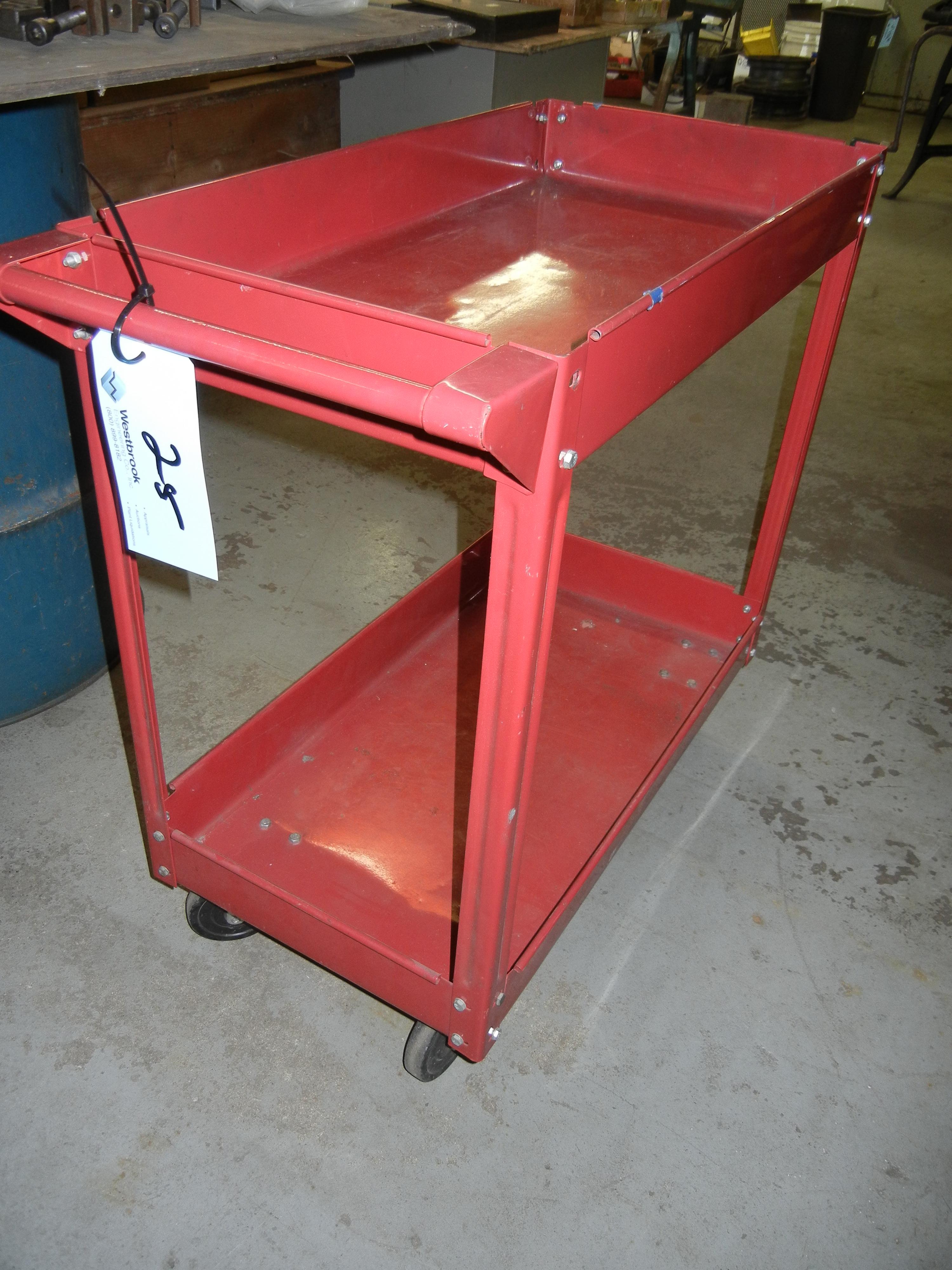 Red metal shop cart