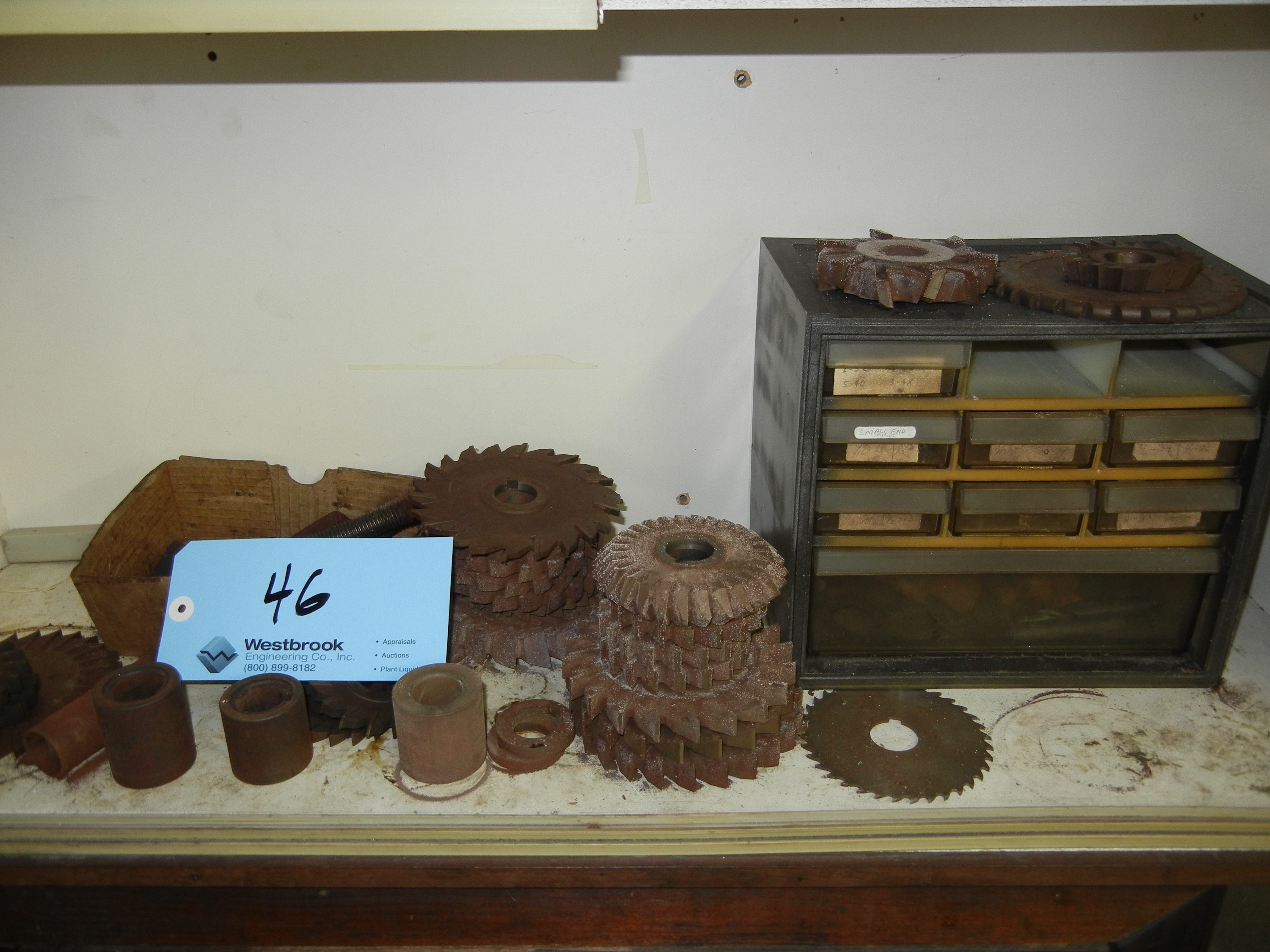 Contents of cabinet with high speed steel and cutters (CABINET NOT INCLUDED)