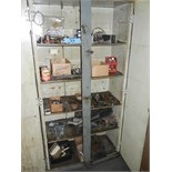 Wood cabinet with contents
