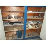 Blue four door cabinet with contents