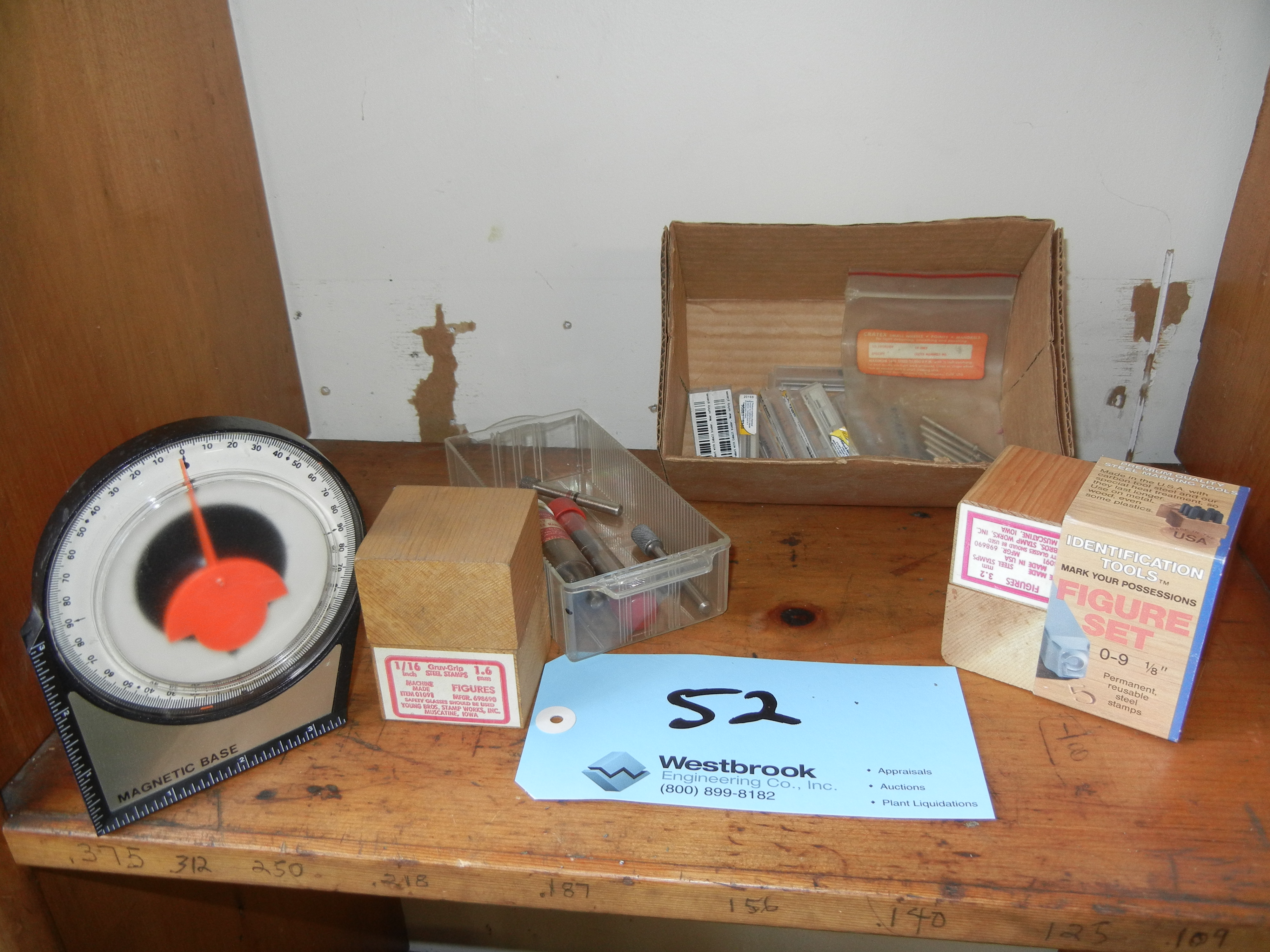 Number stamps, diamond mandrels and level