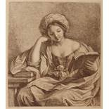 FRANCESCO BARTOLOZZI AFTER GUERCINO Libyan sibyl, etching in sepia, 30 x 27cm
