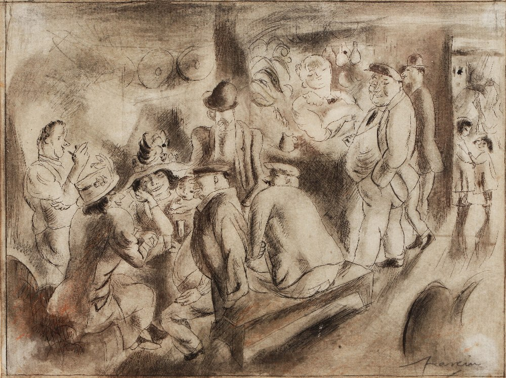 Lot 441 - JULES PASCIN (1885-1930) A party in full swing, signed, pen and ink and wash 'en grisaille', 15 x